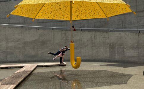 明石海峡公園 ダンスしながら大きな傘をさす